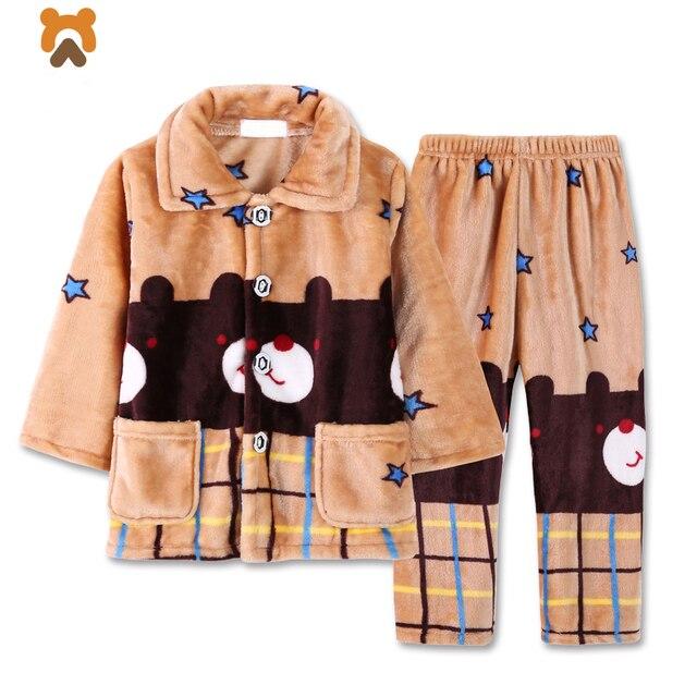 483595b009 Boys Pajamas Sets Autumn Winter Warm Soft Cartoon Hooded Flannel Boy  Clothing Set Hooded Children Kids Pyjamas Sleepwear Clothes