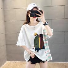 Women Medium Length T-shirt Elephant Cute Animal Print 2019 Loose Chic Female Short Sleeve Harajuku Plus Size Splice Graphic Tee недорого