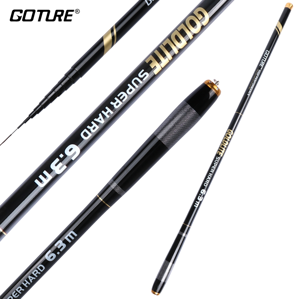 Goture GOLDLITE Fishing Rod 3.6-7.2M 2/8 Power Hard Carbon Fiber Telescopic Fishing Rods for Stream Carp Fishing, 1 Rod+3 Tips