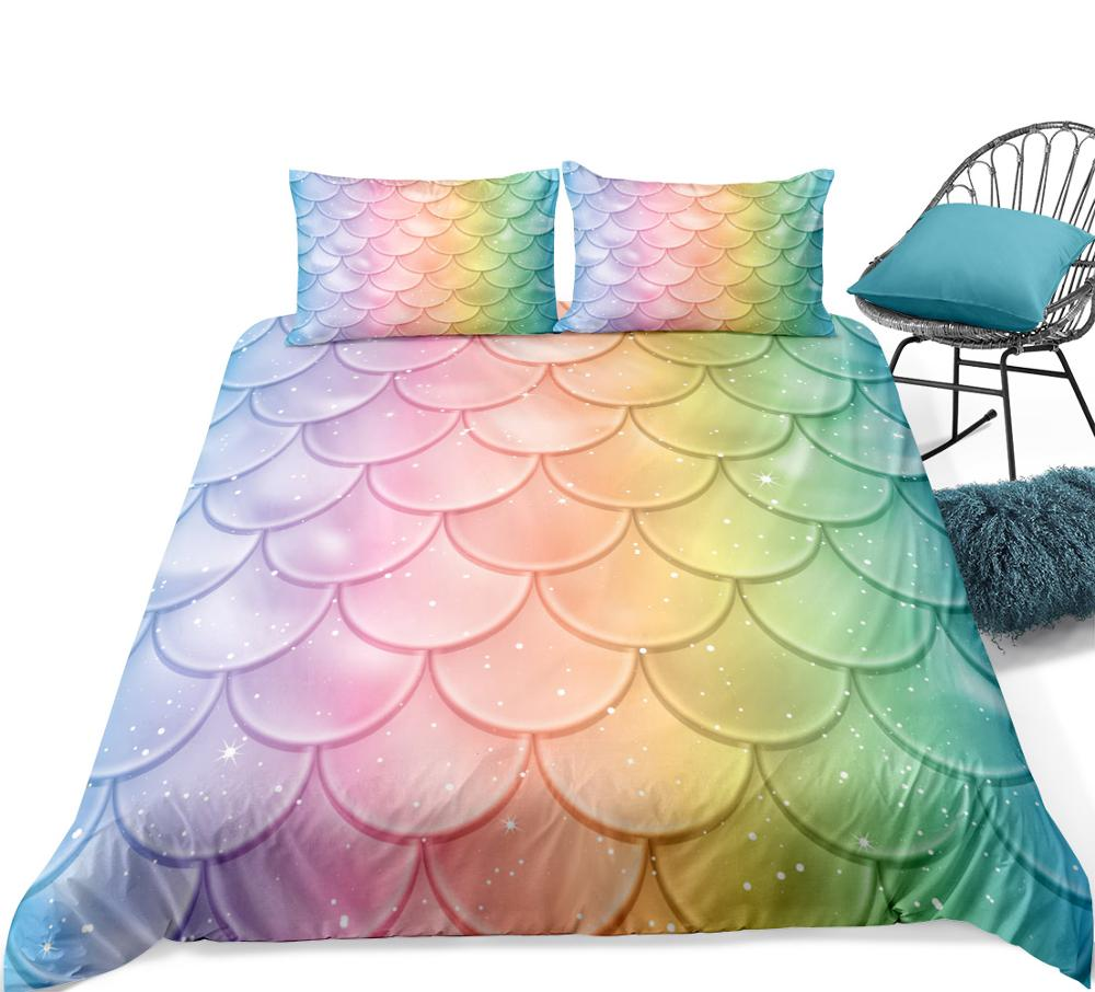 Mermaid Scale Duvet Cover Set Girls Bedding Set Colorful Fish Scale Quilt Cover Princess Kid Teen Boy Bed Line Microfiber