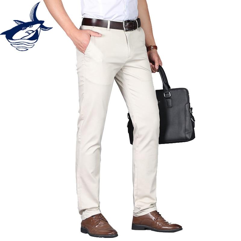 Новый Повседневное брюки Для мужчин, хлопок Прямо Бизнес брюки высокое качество костюм p ...