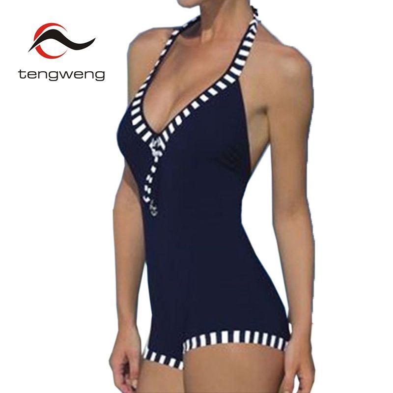 c3b778869c4 2018 Women Striped Swimwear Plus size One piece Swimsuit Bathing Suit  Shorts Bodysuits Sport Tankini Bikini Tracksuit Black 4 XL