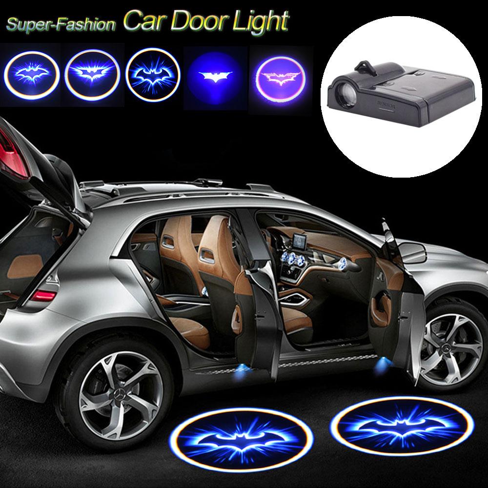 Super Cool Batman Logo Wireless Car Door Lamp Decorative Welcome Light Mini Laser Projector Bulb Automotive Car-Styling Lights punisher car lights