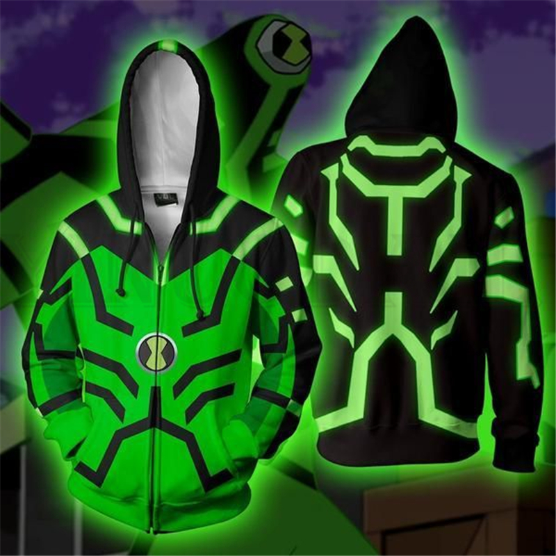 Anime Ben 10 Sweatshirts Men And Women Zipper Hoodies Avatar 3d Print Hooded Jacket For Boys Heatblast Harajuku Streetwear