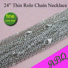 60cm Antique Silver Thin Rolo Chain Necklace, 24 inch Metal Chain Necklace, 2mm Necklace Chain to Match Antique Silver Pendants antique silver te tra gram ma ton star pendants wizard necklace
