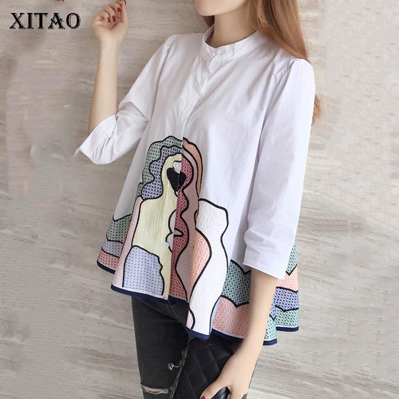 XITAO 2019 Spring Korea Fashion Women Shirt Casual Loose Stand Collar Three Quarter Sleeve Cardigans