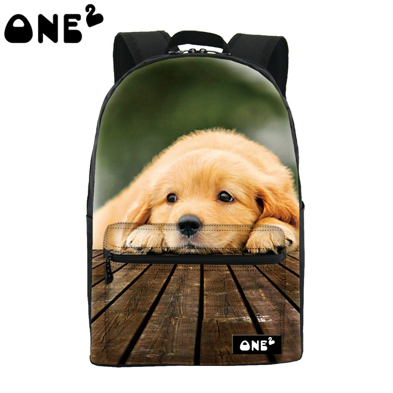 2016 ONE2 Design cute dog pattern printing animal backpack nylon school bag and top quality school backpack for teenage girls cute 18 inch animal cat dog printing