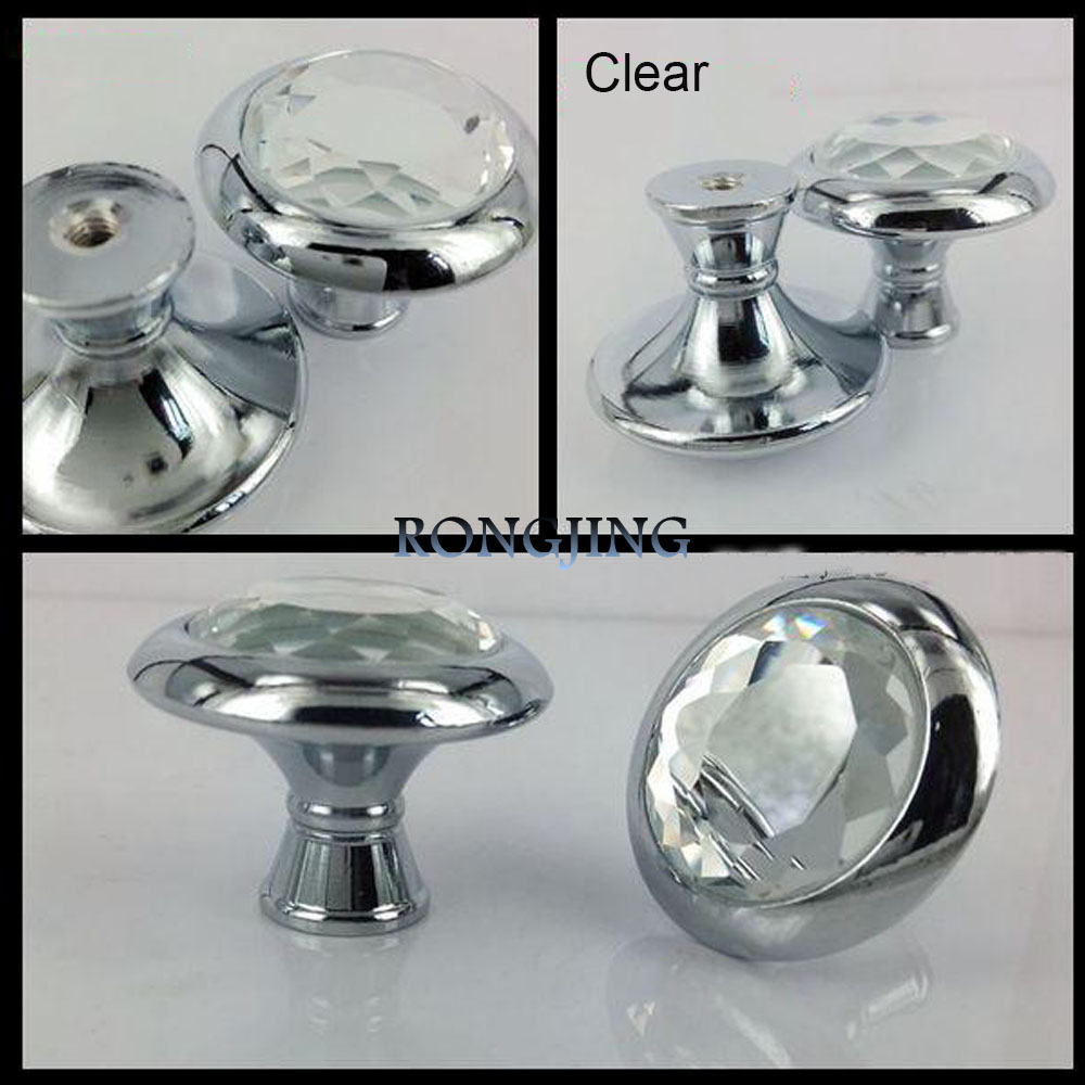 9pcs 34mm crystal cabinet drawer knobs furniture hardware dresser glass handles closet wardrobe Glass furniture pulls