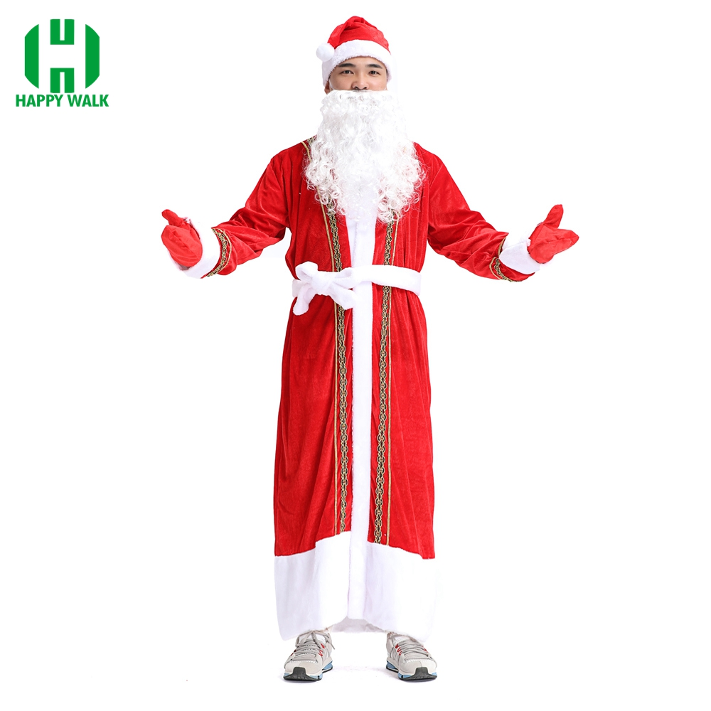 New Style Christmas Costume High Quality Santa Claus Adult Men Velvet Performance Dress Up Christmas Equipmen Cosplay Costume