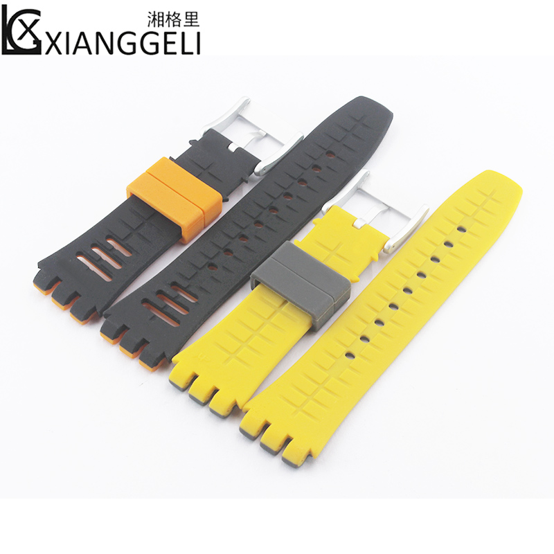 Watch Accessories Silicone Strap 19mm For Swatch Series SFK397 SFK360 SFK361 Men's & Women's Outdoor Sports Watch Band
