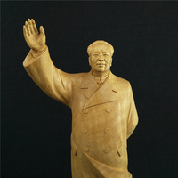 Boxwood Carvings Chinese Statesman Sculpture Mao Zedong Office Supplies Carving Home Decoration Wood Ornaments Featured Gift