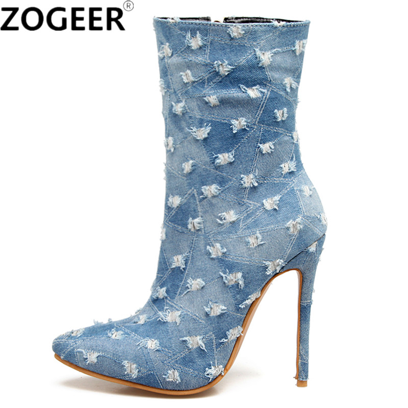 Plus Size 48 Brand New Sexy Denim Women Boot High Heels Sexy Fashion Nightclub Party Ankle Boots Pointed Toe Jeans Ladies Shoes