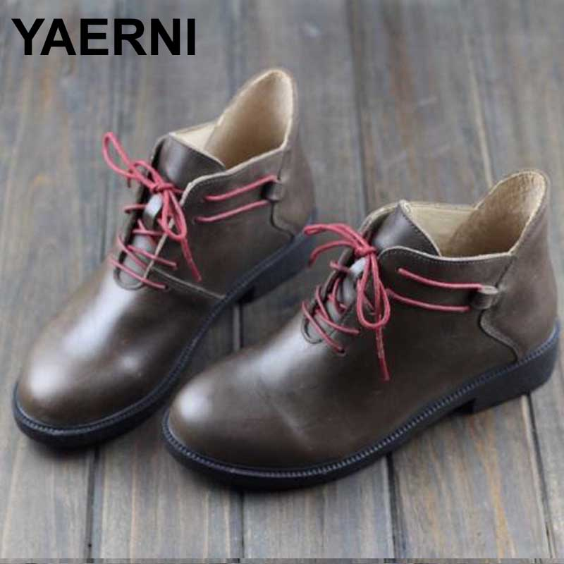 YAERNI  Women's Boots Genuine Leather Ankle Boots Round Toe Lace up Woman Shoes Female Spring Autumn Footwear front lace up casual ankle boots autumn vintage brown new booties flat genuine leather suede shoes round toe fall female fashion
