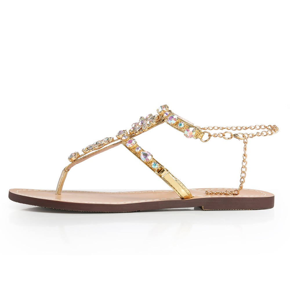 Rhinestones Chains Thong Gladiator Flat Women Sandals 1