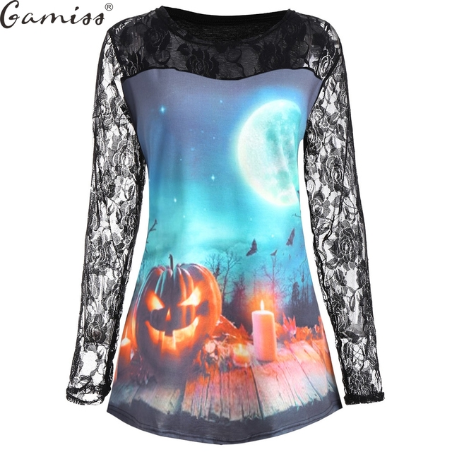 gamiss plus size halloween pumpkin moon lace panel t shirt women 3d harajuku casual tops