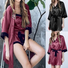Женская одежда для сна, сексуальная черная шелковая пижама с бутонами, атласное кимоно, халат, Дамский кружевной халат, batas de seda de mujer peignoir femme badjas