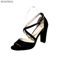 New Cross Strap Shoes Women Sandals Peep Toe Faux Suede Summer Shoes High Heels High Quality