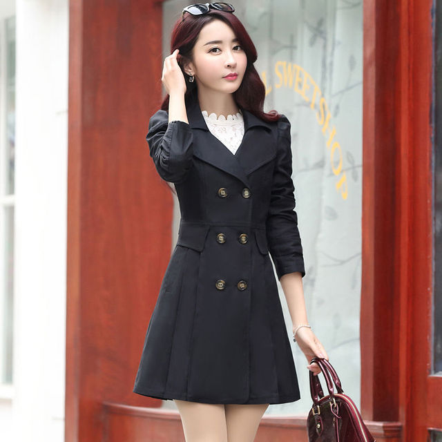 FTLZZ New Women's Trench Coat Spring Autumn Black Green Slim Double Breasted Windbreaker Outerwear Female Casual Trench Coat 6
