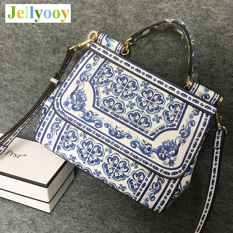 Blue and White Porcelain Designer Print Sicilian Bag Women Platinum Tote Bag Ethnic Female Shoulder Bag/Handbag Original Quality chic women s ethnic print off the shoulder blouse
