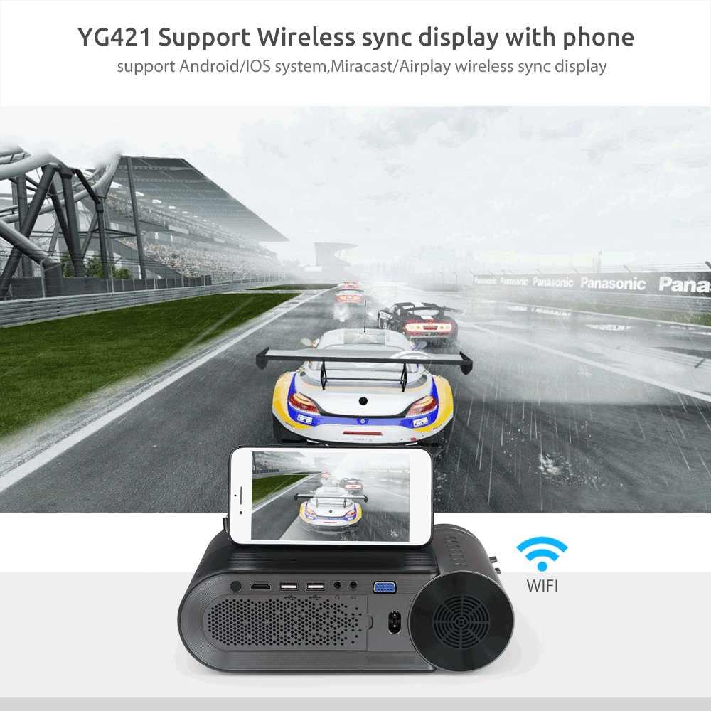 AAO YG420 Mini LED 720P Projector Native 1280x720 Portable Wireless WiFi Multi Screen Video Beamer YG421 3D VGA HDMI Proyector