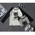 2016 Новая осень мода детские мальчики девочки футболка 100% хлопок супермен бэтмен осень детской одежды для детей футболки топ tee