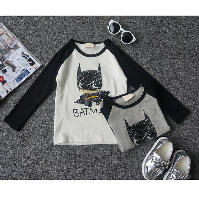 2016 Nova moda outono do bebê das meninas dos meninos t shirt 100% algodão superman batman crianças queda roupas crianças t-shirt top tee