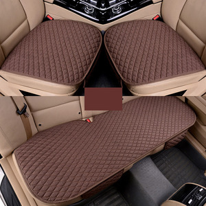 Image 4 - Car Seat Covers Linen Fabric Car Seat Protector Four Seasons Front Rear Flax Cushion Breathable Protector Auto accessories