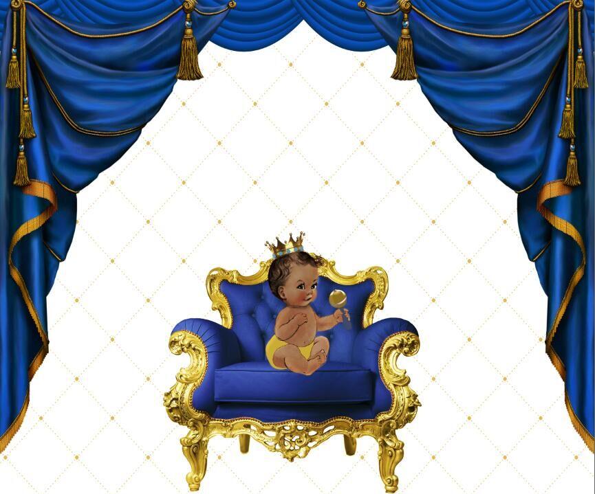 8x8FT Royal Blue Curtain Drape Gold Diamond Chair Baby Shower Custom Photography Background
