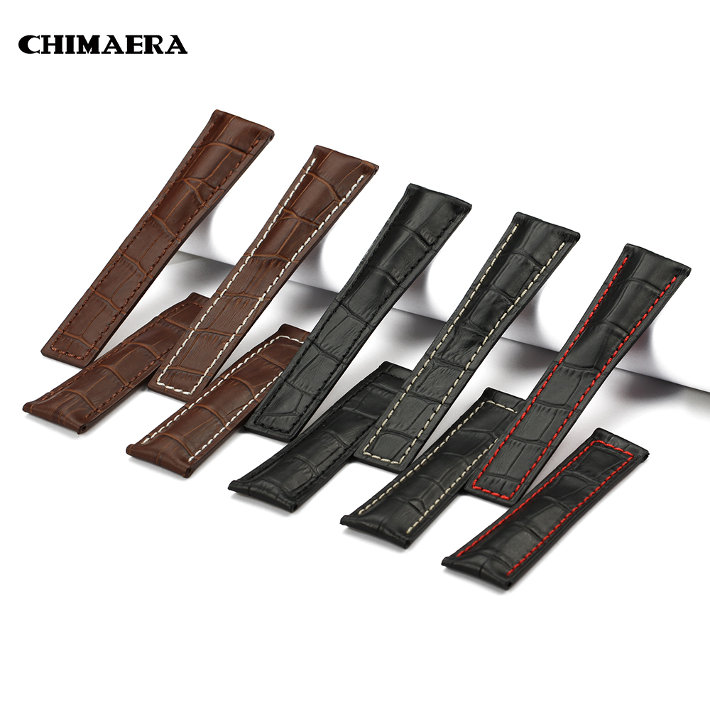 CHIMAERA Watchbands 22mm Watch Strap leather Black Brown Bracelet Buckle Clasp for TAG H euer