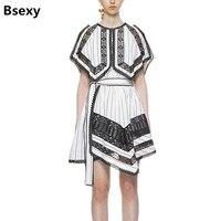 2018 Summer Self Portrait Dress Women Novel White Black Cloak Short Sleeve Irregular Stripe Dress Lace