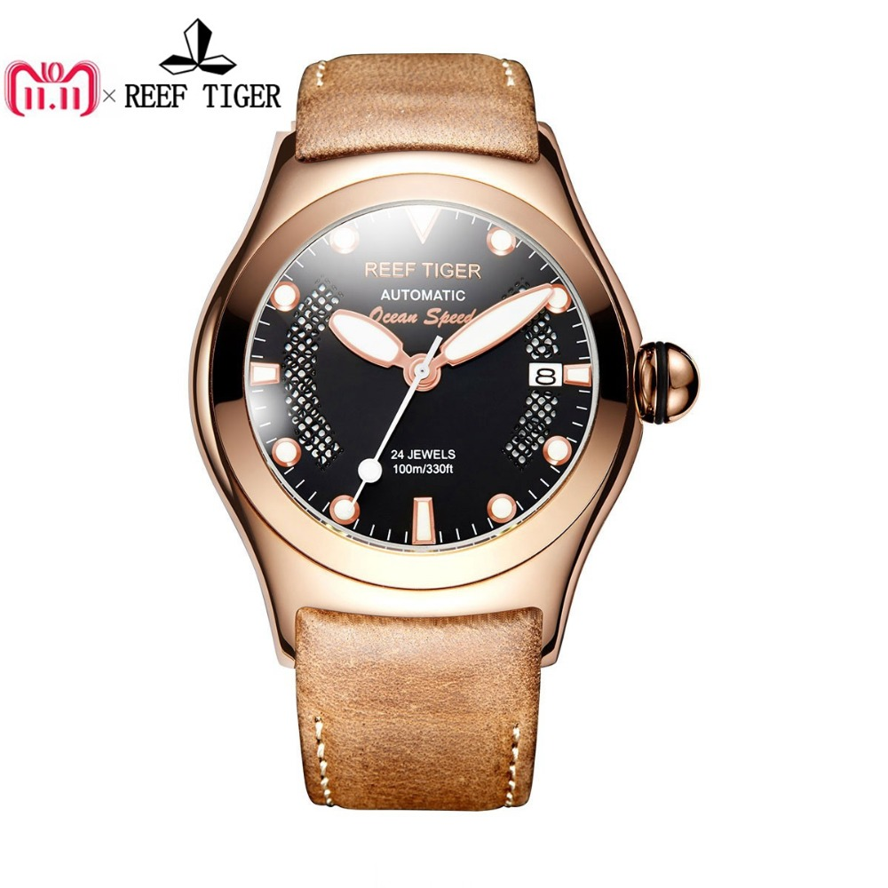 Reef Tiger/RT Sport Casual Watches for Men Rose Gold Big Skeleton Dial with Date Luminous Self-winding Wrist Watches RGA704 reef tiger rt business casual watches with date self winding watches for men steel case rose gold bezel leather strap rga818