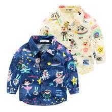 Мальчики футболка с длинным рукавом осенью новый детская одежда джокер мультфильм печати Мужчины ребенок дети лацкан рубашка
