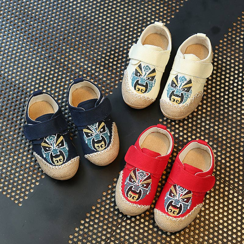 Fashion Spring Autumn Children Canvas Shoes Facial Painting Boys Girls Sneakers Kids Casual Flat Shoes M09