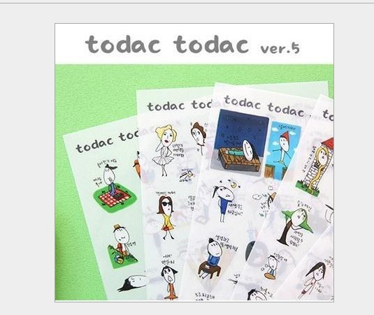 (5sets/lot),todac todac ver.5 pvc kawaii diary stickers post it 6 sheets/1 set papelaria/escritorio/stationary /Wholesale