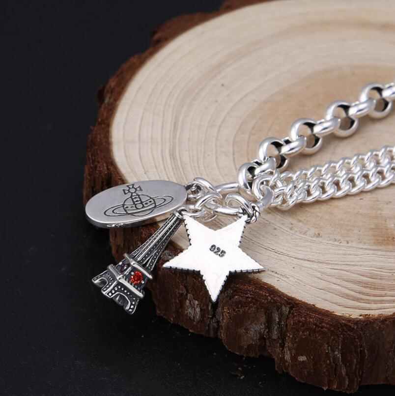 925 Bracelet tour Eiffel en argent Sterling femme rétro S925 Bracelet (FGL) - 5