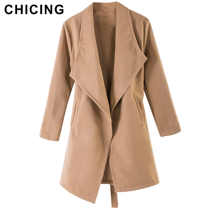 CHICING Autumn Winter Chic Women   Trench   Solid New Arrival Long Sleeve Regular Open Stitch Woolen Coats Ladies 1807071