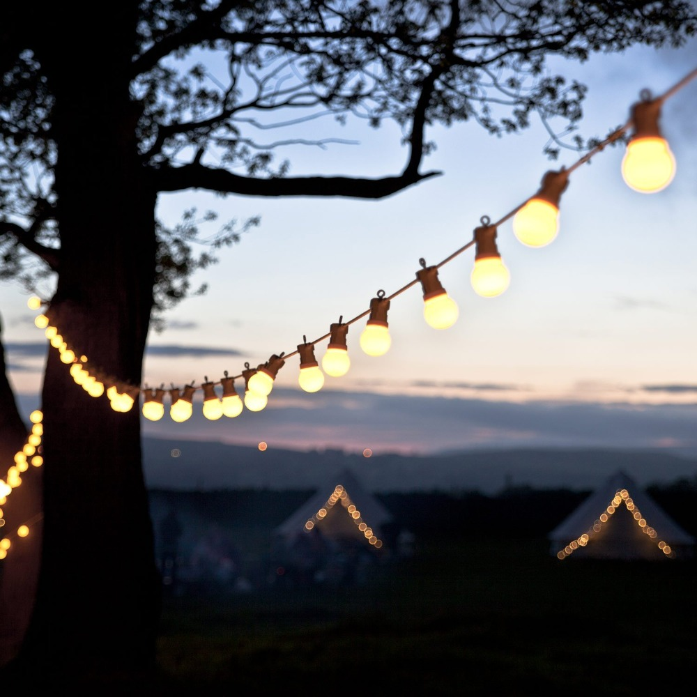 15M 20 LED Festoon Lights Bulb String Fairy Lights Connectable White Cable Outdoor Wateproof Christmas Wedding Party Decoration