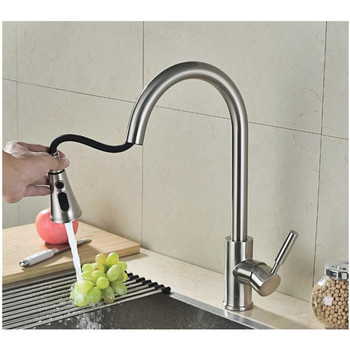 Pull Out Single Handle Stainless Steel Pull Down Sprayer Kitchen Sink Faucet, Brushed Nickel Kitchen faucets with Escutcheon