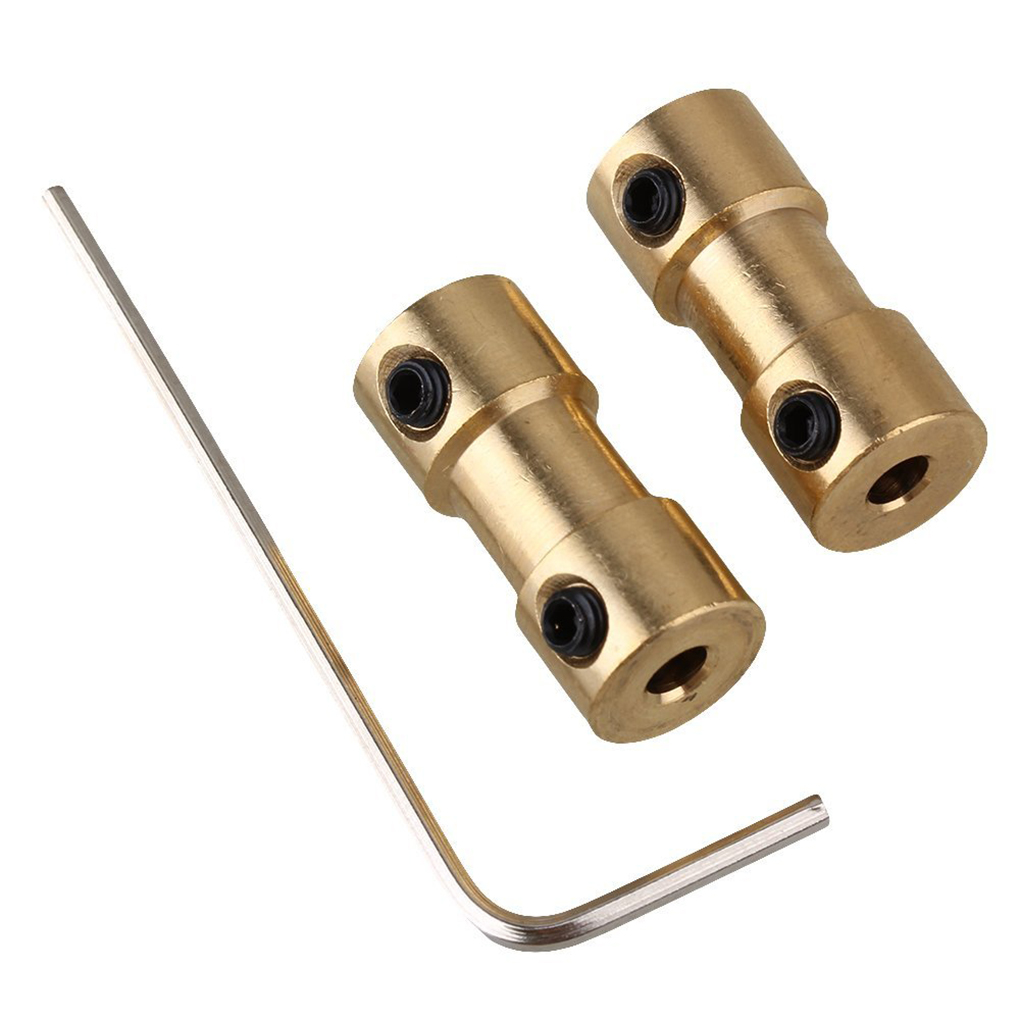 2mm/2.3mm/3mm/3.17mm/4mm/5mm/6mm Brass Rigid Motor Shaft Coupling Coupler Motor Transmission Connector with Screws Wrench 3mm shaft screw clamp motor wheel brass coupler coupling