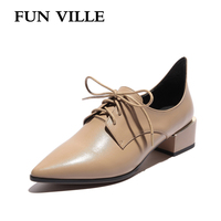 FUN VILLE 2018 Spring New Fashion Women flats shoes British Style Oxford Shoes Genuine Leather low heel slip on sexy ladies shoe