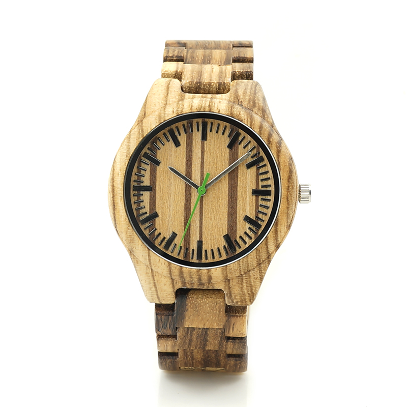 BOBO BIRD K28 Zebra Wood Wristwant Mens Style Wood Dial Green Second Hand Quartz Watch Wood