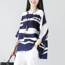 #3012 Summer Korean Style Cotton Linen T Shirt Female Half Batwing Sleeve Plus Size Loose Round Neck Stripe Long T-shirt Femme plain loose round neck batwing sleeve t shirt