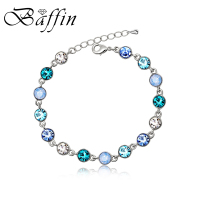 2016 New Design For Must Have 3 Colors Multi Crystal From Swarovski Bracelet Rhodium Plated For