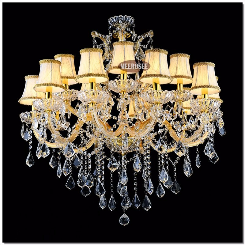 Gold Color Cristal Chandelier Lighting Fixture Crystal Lights Incandescent Luminaire For Hotel Restaurant Foyer In Chandeliers From
