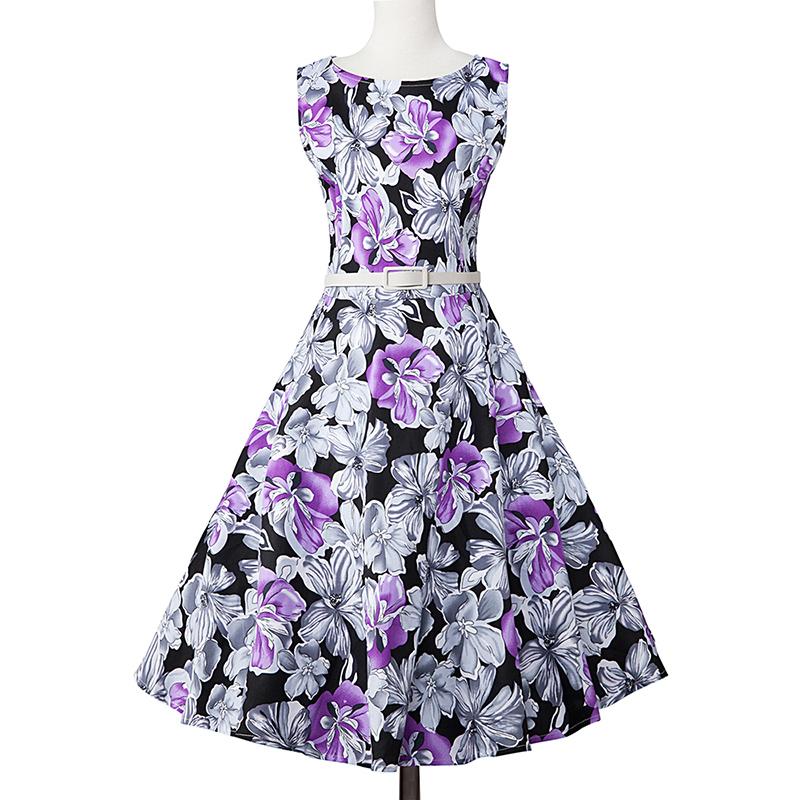 Kostlish Elegant Print Women Summer Dress Sleeveless Cotton Hepburn 50s 60s Vintage Dress With Belt Casual A-Line Ladies Dresses (46)