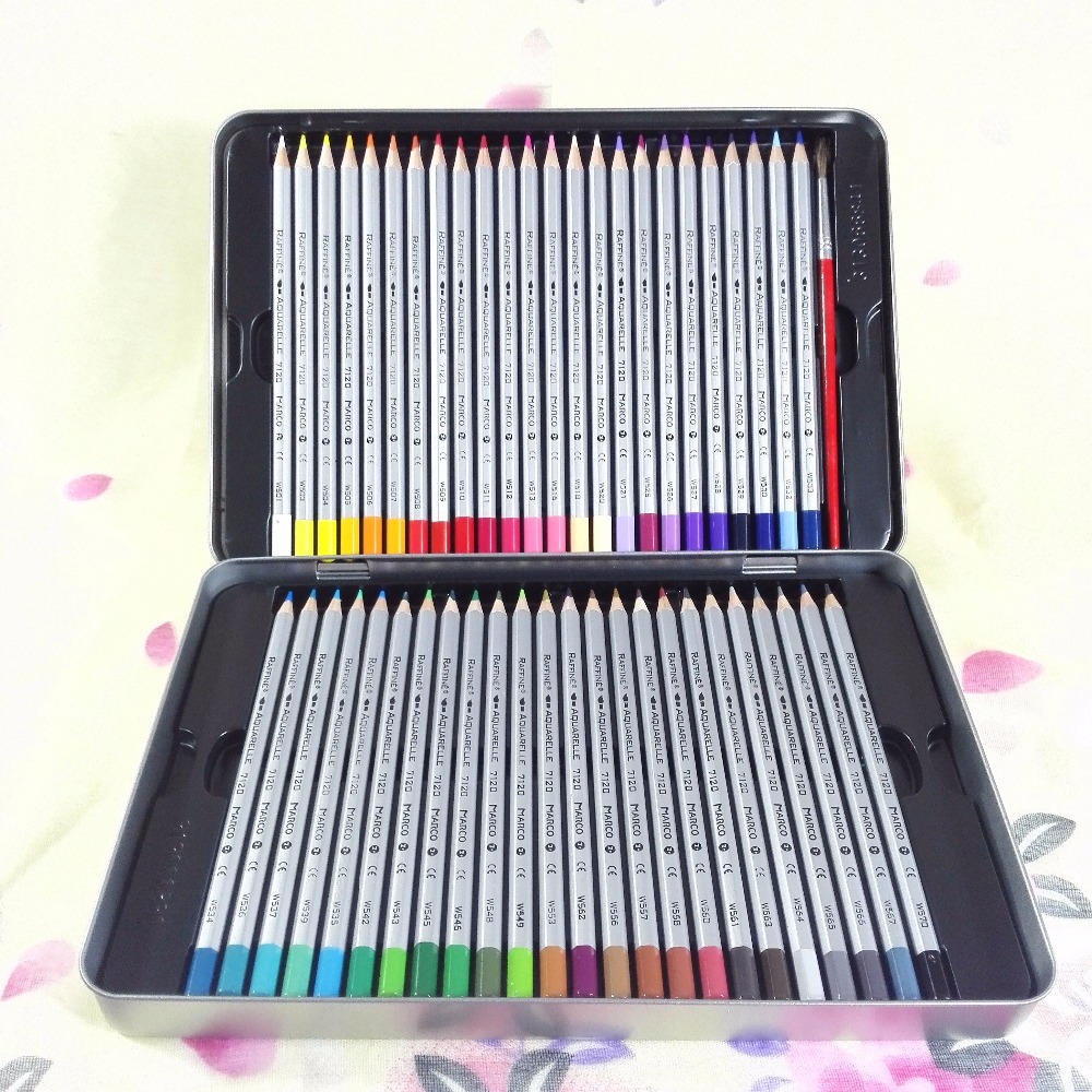 24/36/48 Colors Watercolor Pencils Set Water-Soluble Coloring Pencil Iron boxed Water Color Colored Pencils School Lapis Escolar marco renoir 3220 black wood colored pencils 24 36 48 colors watercolor pencils set for drawing lapis professional art supplies