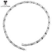 LITTLE FROG Chain Necklaces silver color Stainless Steel Health Energy Germanium Bio Magnetic Necklace for Women Men Jewelry