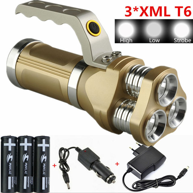 6000Lm Аккумуляторная Фонарик Lanterna 3 3xcree XML T6 СВЕТОДИОДНЫЙ Фонарик Факел Для Охоты Отдых На Природе + 3x18650 Батареи + зарядное устройство