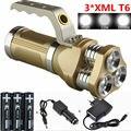6000Lm Lanterna Recarregável Lanterna 3 xCREE XML T6 LED Lanternas Torch light Para Caça Camping + 3x18650 Bateria + carregador