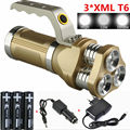 6000Lm Rechargeable Flashlight Lanterna 3xCREE XML T6 LED Flashlights Torch light For Hunting Camping+3x18650 Battery+Charger